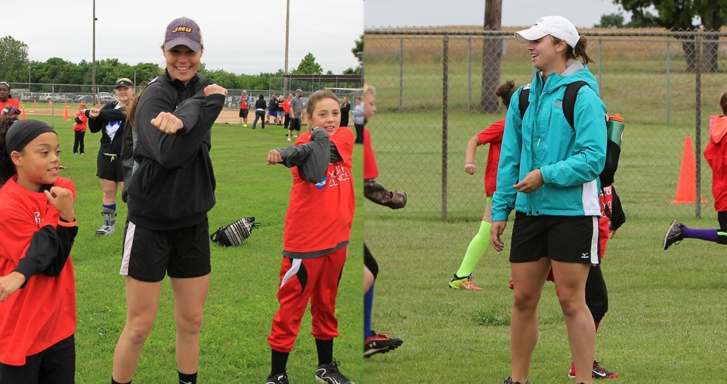 Softball: Good, Newton Work Powerade Youth Clinic at Women's College World Series