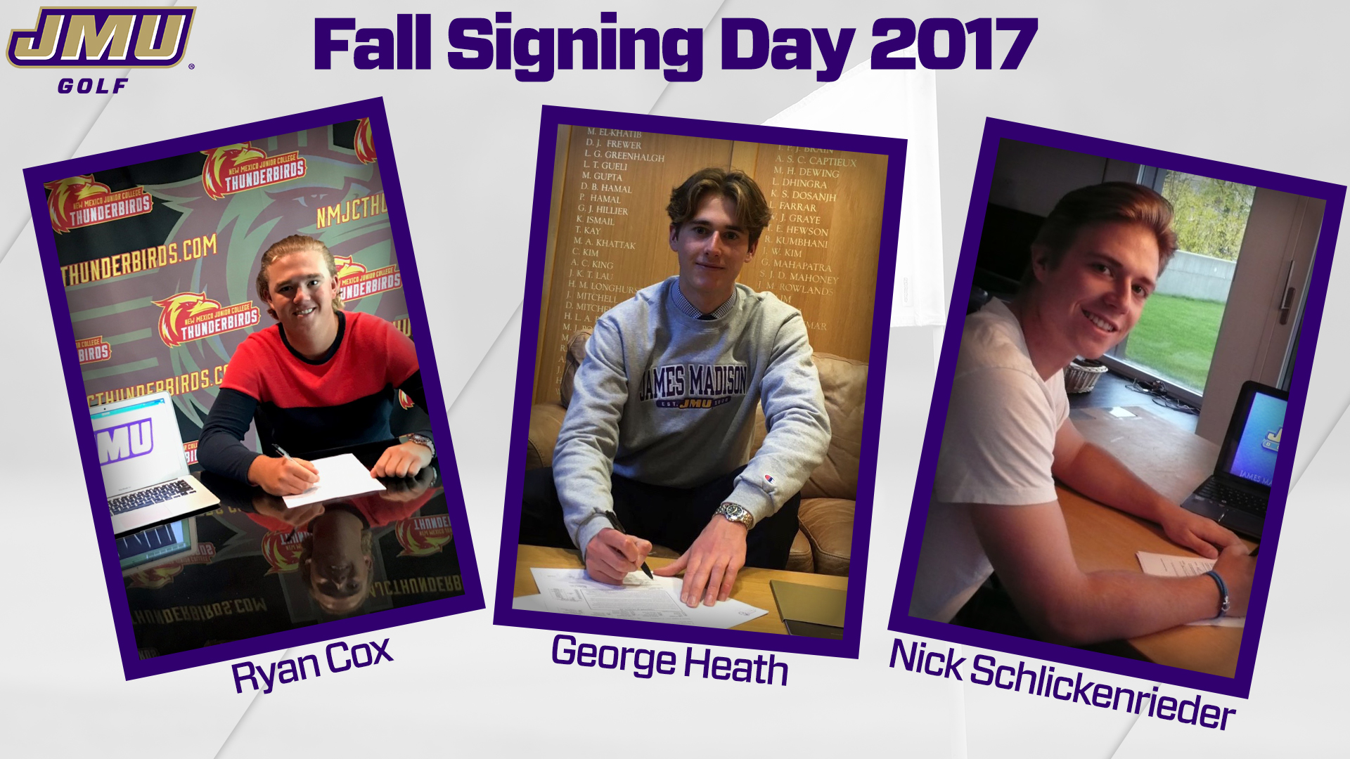 Men's Golf: Men's Golf Signs Trio During Early Signing Period)