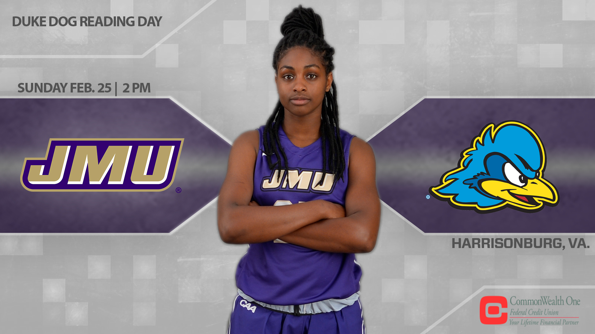 Women's Basketball: JMU Welcomes Delaware for Duke Dog Reading Day)